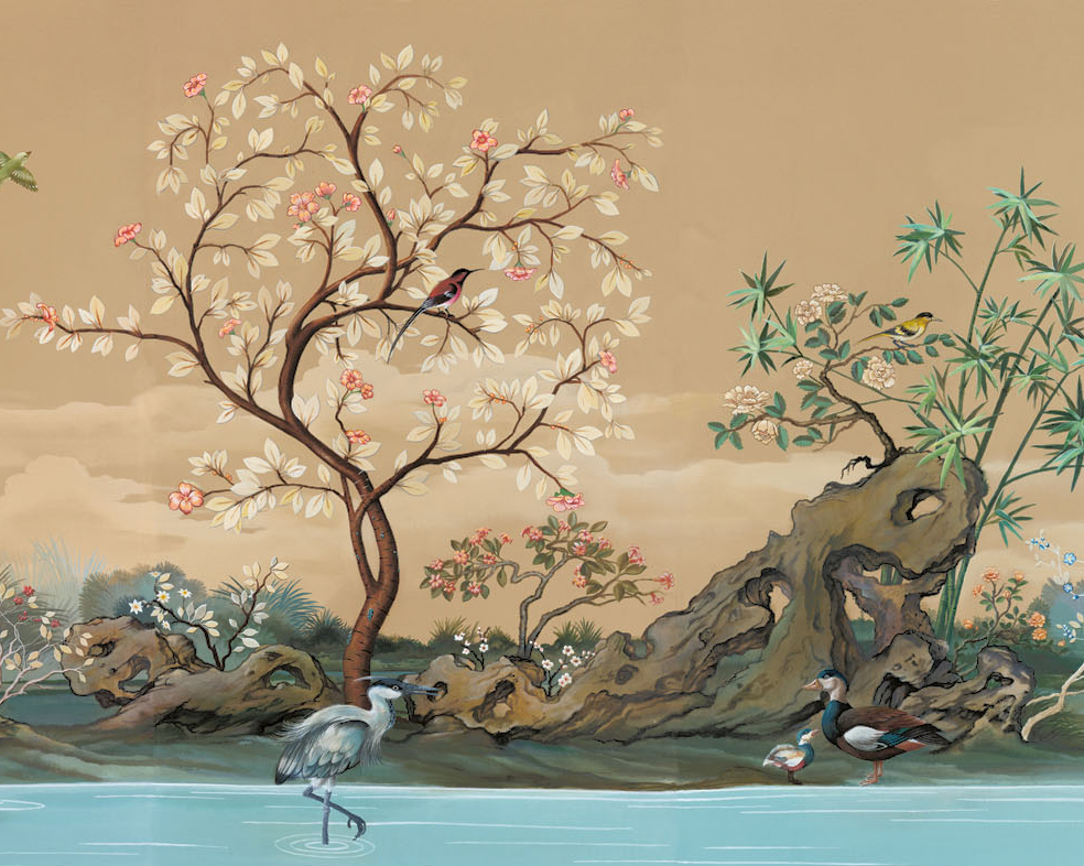Chinoiserie mural wallpaper for Designer mural wallpaper